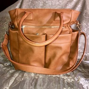NWOT Brown Leather Diaper bag with changing Matt